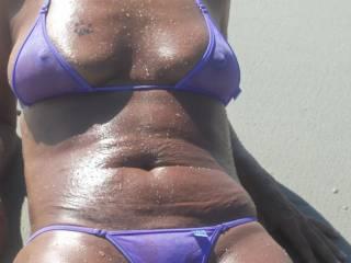 Throwback. Wet sheer bikinis on beach.