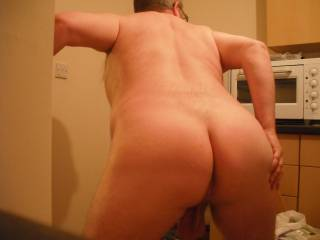Sticking out my bare ass for you to inspect