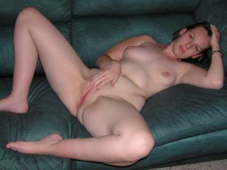 Amanda on my couch just before we fucked