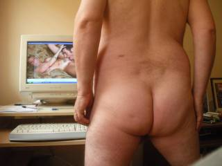 My bare ass while watching a hot porn film.  Once again, I dedicate my bum to the ever beautiful ssenior, its people like you, babe, restore my faith in human nature in this rotten old world we live in.  Love yer lots xxxxxxxxxxxxxxxxxxxx