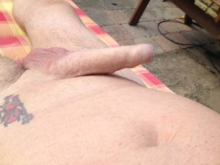 I was sunbathing in my garden and the sun felt so nice on my cock Then I thought I wonder what else would feel nice on it ?