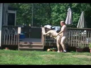 morning outdoor fuck in back yard for neighbors and passers by to see