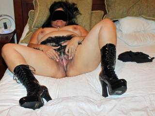 Hot new boots and a spread wet pussy!  Want some?