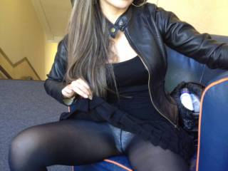 Old pic of my wife flashing her pantys through her black pantyhose in public