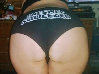 I had to let her be get a picture of my new panties, anyone want to come freshly squeezed this phat ass?