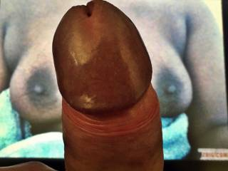 Two sexy boobs, two lovely nipples, two wonderful areolas but only one getting-ready-cock...