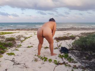 Found a nice spot next to the resort to get nude.  Not really a beach, more like some sand between the ocean and jungle.  It definitely wasn't a nude beach, but it was far enough away from the resort with jungle to hide in if needed.