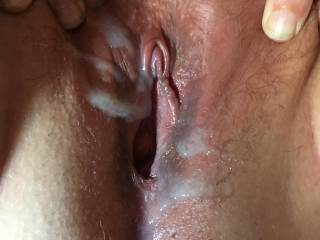 Cumshot over wife's open naughty pussy. Beautiful swollen clit.