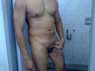Hard and cumming in a shower room.