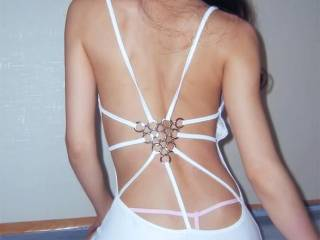 my sexy white dress and tiny pink thong