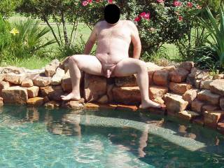 Hubby naked and nervous in our pool...our female neighbor was in her back yard with her female friends and hubby's cock was open for display!  I wonder if they got a look?  It made me wet and horny for sure seeing my man naked and vulnerable!!!
