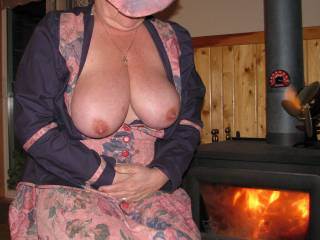 Girl with tits like yours. I don't need a fire to keep me warm.