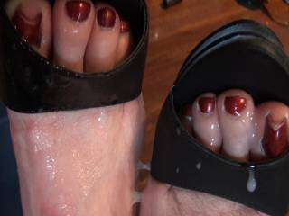 If it's all right with your master I would love to lick all his sweet nut juice off your sexy toes , may I ?