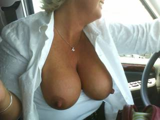 Damn would love to play!! Better yet pull over so we can play. Would love watch your tits dance as I'm fucking you!!