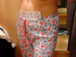 Zoig card and new PJ's being tried on in in this Sussex Submissive local clothing store.