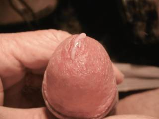 Close view of my head with precum.