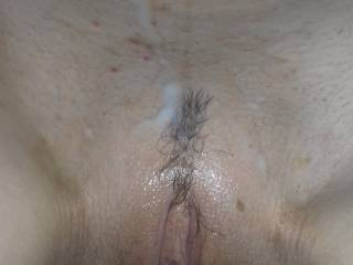 cum all over freshly shaved pussy - cum is fun