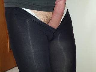 Sexy tights covered legs to rub my hard cock on and...