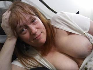 Do you know what I want to do? I'm going to ride you, so you can stare at my chest until you cum... all over my tits. Ready?