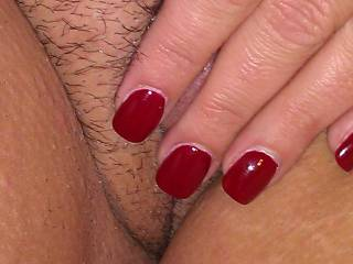 Wonderful photo  great combination  I can just imagine licking you clit as you pull your pussy lip apart for me