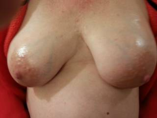 Pregnant oiled tits... what do you think?