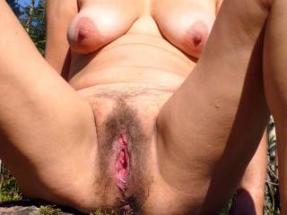 Granny you\'d like to fuck? My matured body and natural gaping vagina in the sun.
