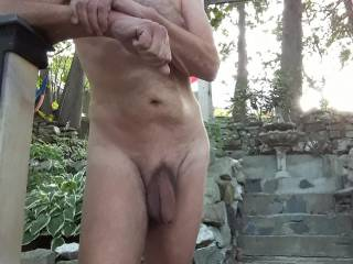 Enjoying the early morning in the backyard while visiting some friends.It is such a great feeling to be relaxing, naked outdoors.