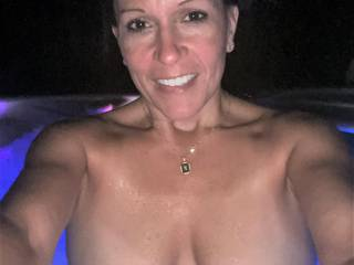 Melissa would stay in our hot tub 24/7 if she could!