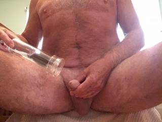 Getting ready to pump my cock up
