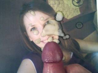 My load blown all over her face!