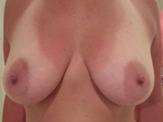 Beautiful tits! I love your big nipples! I wanna suck em for a few hours,may I?