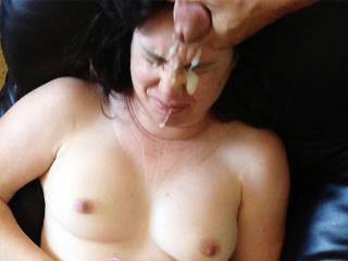 """My husband emptying himself on my face, I hate cum dripping out of my vag while at work so I prefer cum """"on"""" me, Yes, I really said that. Besides, my husband likes it and I enjoy watching that first spurt. LoL!"""