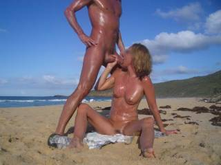 yes, it looks very nice the cum-oil mix on this beautiful body! i would like to try!!!??? would love to suck this oild dick like this and take all the cum on my body!? please!