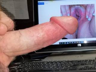 Stroking my hard cock to watchingyouplay\'s tasty pink spread pussy! Love her squirt vids!