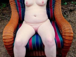 my chubby wife naked outside showing her pussy, tits, and belly