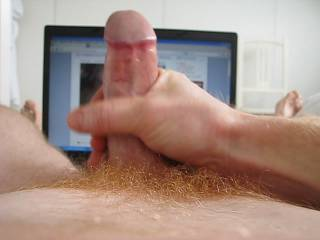 I love that big red headed cock and those sexy feet