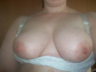 I think my head would fit quite nicely between those gorgeous tits....maybe hubby could cum all over them while I am sucking on those big hard nipples