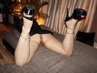 Your High heels slut on tour 1,would you bang me that position?