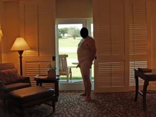 Weekend getaway at a luxury resort.  Hubby posing nude for me!  I saw some ladies outside and told hubby to open the door!