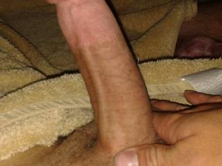 Luv to feel him massaging my wet swollen pussy!