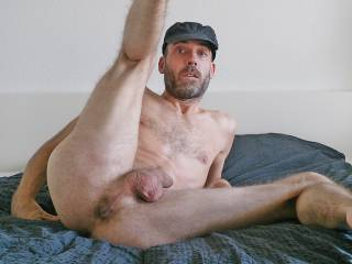 spreading my skinny legs and showing hairy asspussy