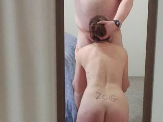 I really enjoy giving my hubby blowjobs.  Both of us like his cock deep in my mouth.  Guys would you use your hand to push your cock deeper into my mouth?