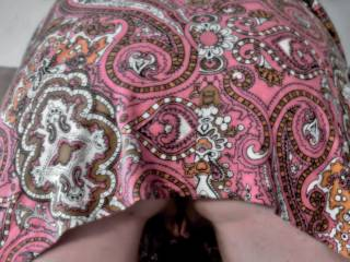 wife slid up her dress so anyone could get an upskirt view of her shaved pussy and juicy ass
