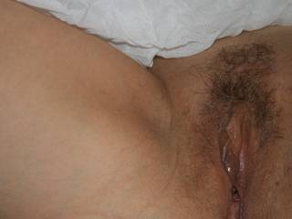 Full view of my pussy wet and hot ... like it?