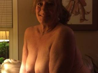 I have big, natural tits and I love being naked and showing them off.  It's a treat to rub them up against guys in  public place just to watch their cocks swell.  Follow me home guys!
