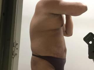 Brown thong bulge after swim