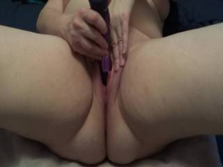 I love watching her cum. Twice she cums so hard she shoots the vibrator out of her pussy from the contractions.