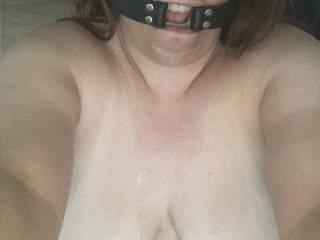 look at how slutty and dirty my little horny girl is.. ready to face fuck and pull those nipple clamps