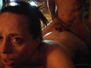 Eating and young fucking her butthole and sucking her clit she soaks my face before I fuck her open butthole look at her face she\'s in heaven