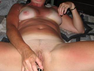one of us on each side cumming on those tits while she makes herself cum.....now thats a good time.....